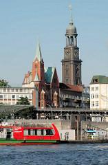 Blick über die Norderelbe zum Johannisbollwerk und der Gustaf Adolf Kirche und der Sankt Michaeliskirche.