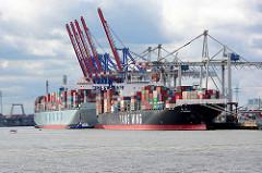 Containerfrachter am Container Terminal Tollerort im Hamburger Hafen.