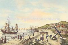 Blankenese um 1830; Fischerboote liegen am Elbufer - Kinder spielen am Strand; Blankeneser Fischer mit Ihren Frauen in Tracht. Auf der Elbe fahren Segelschiffe - Häuser des Fischerdorfes am Süllberg.