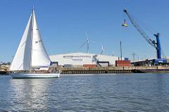 Logistikterminal Hamburg Dradenau am Köhlfleet in Hamburg Waltershof - fahrbarer Schwerlastkran, Segelboot in Fahrt.