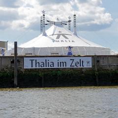 Theaterzelt, Thalia im Zelt am Baakenhöft, Baakenhafen in der Hafencity Hamburgs.