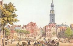 Blick über den Schaarmarkt zur St. Michaeliskirche in Hamburg - Bäuerinnen sitzen in Tracht vor ihren Körben auf dem Markt; Wohnhäuser an der Michaeliskirche, ca. 1850.