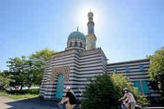 """Ehem.  Dampfmaschinenhaus für Sanssouci – auch """"Pumpenhaus"""" oder """"Moschee"""" genannt –  Potsdam Neustädter Havelbucht. 1843 unter Leitung von Ludwig Persius zum Betrieb der Großen Fontäne vor dem Schloss Sanssouci erbaut."""