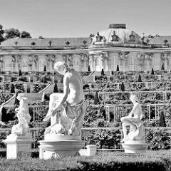 Schloss Sanssouci - Weinberggarten und Skulpturen; Schwarz Weiss Aufnahme.