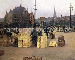 Gemüsemarkt am Deichtorplatz - leere Körbe, Gebäude der Speicherstadt und Oberbaumbrücke.
