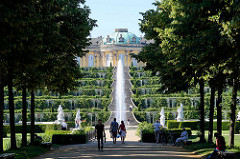 Spaziergänger unter schattigen Bäumen im Park Sanssouci - Springbrunnen und Weinbergterrassen - Schloss Sanssouci.