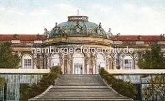 Historische Ansicht vom Schloss Sanssouci - halbovaler Mittelbau mit Kuppel.