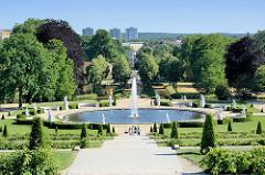 Blick vom Schloss Sanssouci über die Weinberganlagen zum Park mit Brunnen - im Hintergrund Hochhäuser an der Havel.