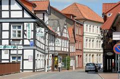 Historische Fachwerkhäuser an der  Brücke über die Alte Jeetzel, Marschtorstrasse in Dannenberg.