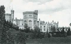 Historische Ansicht vom Schloss Babelsberg in Potsdam, Einweihung des klassizistischen Gebäudes 1835, Erweiterungen 1849.