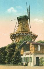 Historische Aufnahme der alten Mühle von Sanssouci in Potsdam;  Holländerwindmühle vom Typ Galerieholländer - Mühlenhaus.