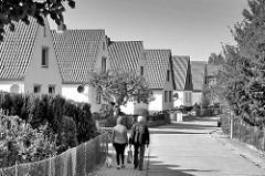Wohnhäuser, Einzelhäuser mit Satteldach, Spaziergänger mit Hund - Wohngegend in Dannenberg / Elbe.