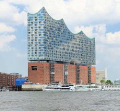 Gebäude der Elbphilharmonie in der Hamburger Hafencity - seit Juli 2015 sind die Baukräne entfernt.