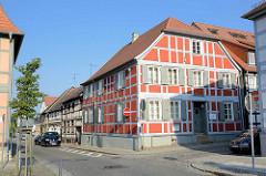 Alte Fachwerkarchitektur in Wusterhausen, Dosse; Wohnhaus in der Domstrasse.