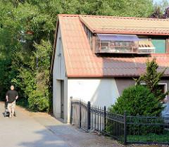 Brieftauben im Verschlag am Dach eines Wohnhauses in Wusterhause, Dosse.