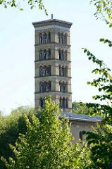 Kirchturm der Friedenskirche am Schlosspark von Sanssouci / Potsdam; fertiggestellt 1854, Pläne königlicher Hofarchitekt Ludwig Persius.