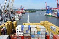 Blick von der Brücke eines Containerschiffs auf den Waltershofer Hafen in der Hansestadt Hamburg.