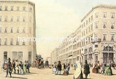 Blick vom Jungfernstieg in die Hamburger Prachtstrasse Neuer Wall - Passanten flanieren auf dem Jungfernstieg - Pferdekutschen mit Passagieren, ca. 1846.