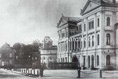 Alter Altonaer Bahnhof bei der Palmaille in Altona, Elbe - jetzt Rathaus von Hamburg Altona ca. 1880