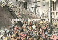 Auswanderschiff auf der Elbe ca. 1876 - ein Zubringerschiff mit geringem Tiefgang bringt die Auswanderer zum Passagierdampfer. Die Passagiere müssen ihr Gepäck die schmale Gangway auf das Auswandererschiff der Hamburg Amerikanischen Packetfahrt Ac
