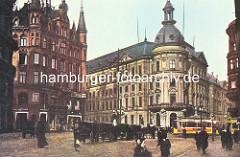 Blick vom Bohnsplatz zum Stadthaus und Neuer Wall - lks. der sogen. Millionenbau, der 1895 errichtet wurde. Pferdedroschken warten auf Fahrgäste - elektrische Strassenbahn.