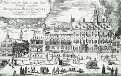 Altes Rathaus der Hansestadt Hamburg, 1680 - lks. die Börse, das Niedergericht und das Wachhaus.