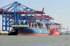 Die Frachtschiffe CMA CGM AQUILA und  Cap San Artemissio  im Waltershofer Hafen am Hamburger Containerterminal Burchardkai.