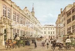 Blick auf das Alte Hamburger Rathaus, ca. 1832 - Pferdkutschen, Passanten mit Hut / Zylinder - Gemüsebauer in Tracht und mit Körben an einer Schultertrage.