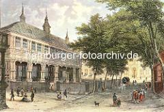 Gebäude der Alten Börse  an der Zollenbrücke / Trostbrücke in der Hamburger Altstadt, ca. 1840.