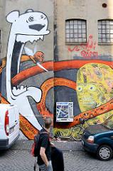 Grafitti an einer Hauswand in der Hamburger Neustadt - Gängeviertel.