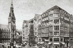 Historisches Foto von der Innenstadt Hamburgs - Blick von der Mönckebergstraße zum Rathausplatz und Rathaus, ca. 1929,