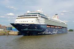 Das Kreuzfahrtschiff MEIN SCHIFF 1 am Liegeplatz, Kreuzfahrtterminal Hafencity in der Hansestadt Hamburg.