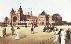 Alte Ansicht vom Backsteingebäude des Bahnhof Altona, Elbe - ca. 1905.