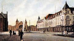 Historische Ansicht vom Bahnhof Altona - Portal, Empfangsgebäude des Backsteinbahnhofs - re. das Hotel Kaiserhof.