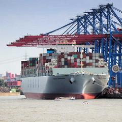 Containerterminal Tollerort in Hamburg Steinwerder - das Containerschiff COSCO DENMARKT liegt mit Containern hoch beladen unter den Containerbrücken.