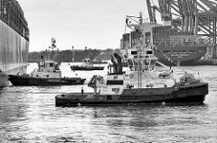 Schlepper im Hamburger Hafen - Hafenbecken Waltershofer Hafen; drei Schlepper unterstützen das Containerschiff ZOE beim Anlegemanöver. Das Containerschiff CMA CGTM KERGUELEN legt im Hintergrund vom Containerterminal Burchardkai ab.