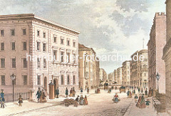 Blick vom Grossen Burstah in die Grosse Johannisstrasse in der Hamburger Altstadt, ca. 1848.