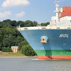 Bug des Containerschiffs MOL BREEZE auf der Elbe vor Hamburg Blankenese - am Ufer das Maschinenhaus der historischen Altonaer Wasserwerke - das 1858 erbaute, denkmalgeschützte Gebäude wurde 2014 für ca. 2,3 Mio Euro verkauft.