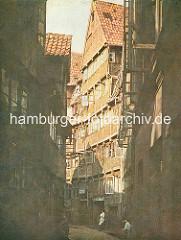 Historisches farbiges Bild / Darstellung von der Wohnsituation im Hamburger Gängeviertel im Rademachergang..