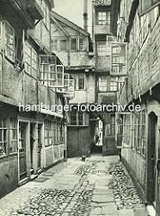 Alte Fotos aus dem Gängeviertel Hamburgs -  Blick in den Rademachergang, eine Katze läuft über das Pflaster.