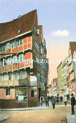 Historische Bilder aus dem Hamburger Gängeviertel - farbige Ansicht aus dem alten Hamburg; Passanten auf der Strasse - Schild Restaurant, Club Local.