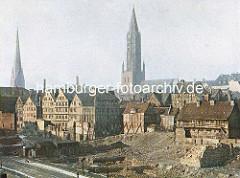 Abriss von Gebäuden an der Niedernstrasse in der Hamburger Altstadt - Beseitigung der historischen Wohngebäude im Hamburger Gängeviertel.
