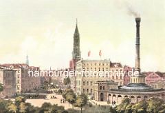 Blick in die Steinstrasse in der Hamburger Altstadt - der Kirchturm der St. Jakobikirche überragt die Hausdächer - re. der Schornstein und die Rotunde der Bade- und Waschanstalt am Schweinemarkt.