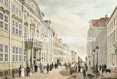 Historische Aufnahme vom Neuen Wall in der Hamburger Neustadt - lks. das alte Stadthaus / Görtz Palais - erbaut 1710, Architekt Johannes Nicolaus Kuhn.