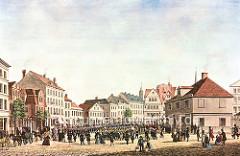 Historische Darstellung vom Gänsemarkt in der Hamburger Neustadt, ca. 1840. Parade des Bürgermilitärs, re. die Gänsemarkt-Wache - im Hintergrund die Spitzen der Kirchtürm St. Petri und Jacobi.