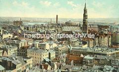 Blick vom Rathausturm über die historische Hamburger Innenstadt ca. 1902 - Kirchturm der St. Katharinenkirche - Rotunde vom Gaswerk am Grasbrook.