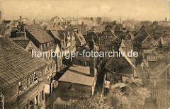 Historische Bilder aus dem Hamburger Gängeviertel - Dächer der Hamburger Altstadt, Wohnhäusser im Schaarhof, Großer Bäckergang.