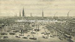 Hamburg Panorama - Blick über den Binnenhafen zur Hamburger Innenstadt mit den Kirchtürmen der Hauptkirchen.