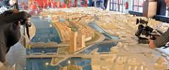 Entwurf des Quartier Elbbrücken in der Hamburger Hafencity - urbanes Geschäfts- und Wohnquartier am Baakenhafen / Norderelbe / Elbbrücken. Der städtebauliche Realisierungswettbewerb bezog sich auf 16,5 Hektar  mit 411 000 m² Bruttogeschossfläche - da