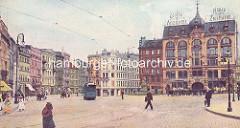 Alte farbige Darstellung vom Hamburger Gänsemarkt um 1900; eine Strasenbahn fährt über den Platz, Pferdedroschken beim Lessingdenkmal.